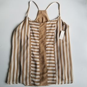 New York & Company Striped Lined Tank Top M